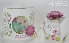 Hello and Welcome! Today I am sharing a Birthday Card and Gift Box made with the Succulent Garden Suite. The succulents are so trendy latel. Fancy Fold Cards, Folded Cards, Screen Cards, Paper Succulents, Marianne Design, Mothers Day Cards, Thing 1, Creative Cards, Scrapbook Cards
