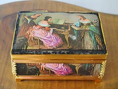 Your place to buy and sell all things handmade Movement Words, Silk Satin Fabric, Musical Jewelry Box, Fabric Jewelry, Leaf Design, Musicals, Decorative Boxes, My Etsy Shop, Metal