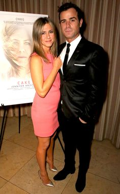 Jennifer Aniston and Justin Theroux look amazing at a screening for the film Cake! We love Jen's chic coral mini dress!