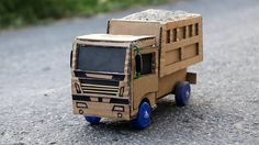 How to make a Powerful Cardboard Truck - Amazing Toy Truck for Kids Cardboard Furniture, Cardboard Crafts, Miniature Cars, Toy Trucks, Wood Turning, Educational Toys, Cool Toys, Miniatures, Activities