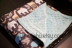 Mod Zoo Blue Minky Baby Blanket READY TO SHIP by HootieHu on Etsy