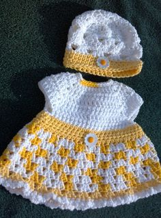 Daisy dress and hat crocheted newborn to 3 months by ExpertCraftss, $37.75