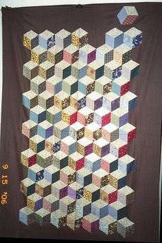 T-The Reluctant Block   The block at the top, who is having …   Flickr Tumbling Blocks Quilt, Quilt Blocks, Cube, Quilts, Modern, Top, Trendy Tree, Quilt Sets, Log Cabin Quilts