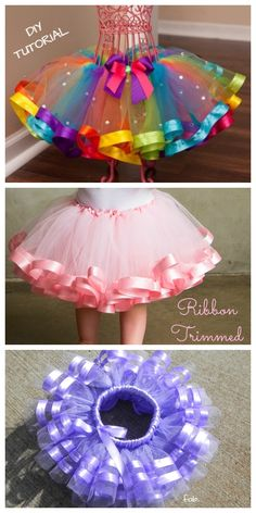 DIY No Sew Tutu Skirt Ideas and Tutorials: changing the color or making color mix for themed costumes of different occasions. Baby Tutu Tutorial, Tulle Skirt Tutorial, Diy Tutorial, Tulle Skirt Kids, Diy Tutu Skirt, Tutu Skirts, Baby Skirt, Tutu Dresses, Ribbon Tutu
