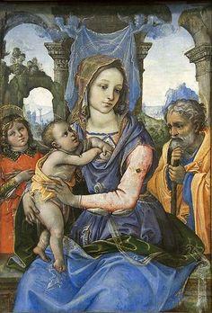 Raffaellino del Garbo Madonna and Child with Saint Joseph and an Angel