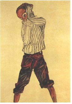 Egon Schiele, Stehender Knabe im Gestreiftem Hemd (Staying Boy With Stripped Shirt)