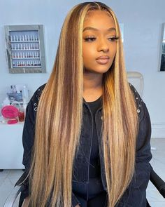 Carina Customized Straight Human Hair Wigs with Highlights Glueless Ombre Lace Wigs Blonde Curly Hair, Honey Blonde Hair, Blonde Wig, Ash Blonde, Blonde Waves, Sandy Blonde, Weave Hairstyles, Straight Hairstyles, Baddie Hairstyles