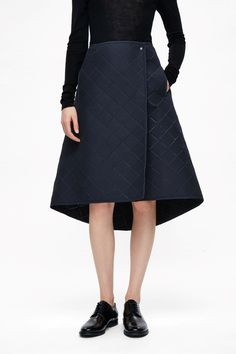 COS image 2 of Square embossed A-line skirt in Navy
