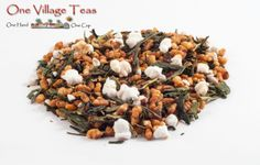Genmaicha Yamasaki Green Tea  This specialty Japanese style green tea is blended with fire-toasted rice giving a natural sweetness to each sip. A tremendous conversational tea hosting flavours both sweet and toasty.   www.onevillageteas.com Most Favorite, Black Eyed Peas, Japanese Style, Tea Cups, Beans, Rice, Vegetables, Natural, Health