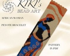 Peyote pattern for bracelet - Africa - African woman peyote bracelet cuff PDF pattern - instant download