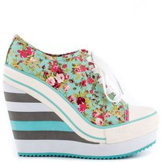 Rock & Candy Women's London - Minca ($75) ❤ liked on Polyvore featuring shoes, wedges, multi colored shoes, lace up shoes, lace up wedge shoes, floral platform shoes and striped shoes