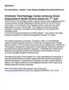 Press release for CTHC earning the Great Expectations award in 2013.