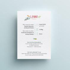 ecologisch geboortekaartje op wit gestructureerd papier (achterkant) Puppy, Birth Announcements, Paper, Newborn Birth Announcements, Birth Announcement Cards