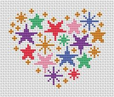 Heart cross stitch patterns counted cross by ClimbingGoatDesigns