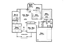 Colonial Southern House Plan 68068 Level One