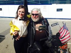 Low Expectations behind the scenes. Clothes by Fyodor Golan. Our actress Sophia Carr-Gomm with Andy Bayne, East End legend, on his pimped out Harley Davidson mobility scooter!