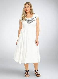 0fdba2eef6f82 Embroidered Knit Gauze Midi Dress