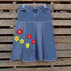 Pocket Garden Blue Jeans Skirt