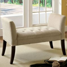 Beau **Amazon.com   Sierra Vista Ivory Fabric Finish Accent Bench   Storage  Benches