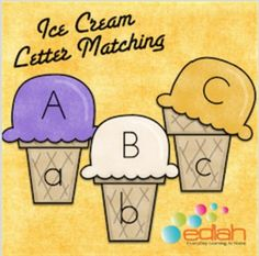 This simple center activity is a great way to get your young student matching upper and lowercase letters!Simply print the lowercase ice cream cones and have your preschooler match it with the correct upper case ice cream scoop! This is a great activity for a small group to do together.Printables Included: -Lowercase Ice Cream Cones (a-z)-Uppercase Ice Cream Scoops (A-Z)***Please note: This activity IS included in my Summer Fun Themed Lesson Plan Pack***