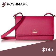 """Kate Spade Crossbody Bag NWT *HP* 4/5 Kate Spade Mikka Grove Street Crossbody Bag  *New with tags*   Color: Punch  Approximate measurements: 5.3"""" H x 7.7"""" W x 1.2"""" D - Drop length 22""""    FEATURES wallet with snap flap closure and removable, adjustable strap main compartment fits iphone 6 and 7 4 credit card slots and billfold interior zipper pocket    Comes from a smoke free home! kate spade Bags Crossbody Bags"""