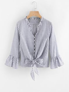SheIn offers Contrast Striped Knotted Hem Frill Blouse & more to fit your fashionable needs.Product name: [good_name] at SHEIN, Category: Blouses, Price: [good_price]Shop online for the latest collection of PIN US BlouseAndJeans 20180129 V Find the Frill Blouse, New Blouse Designs, Fall Shirts, Women's Shirts, Blouse Online, Mode Inspiration, Blouse Styles, Blouses For Women, Fashion Dresses