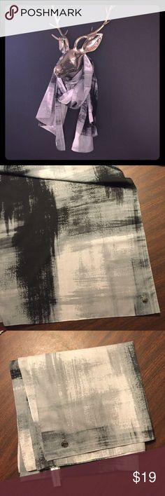 Calvin Klein oversized crosshatch scarf wrap shawl Very large size Calvin Klein 100% polyester scarf/wrap/shawl. Large pattern with crosshatch brushstroke motif in shades of grey and black. Chrome coin emblem on one corner. In excellent condition. Bundles are only 2 items! Bundle and make a nice deal for yourself or make offer! Calvin Klein Accessories Scarves & Wraps