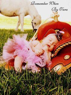 Newborn, baby girl, pony, saddle, western