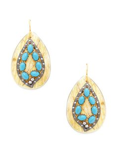 Turquoise & Horn Teardrop Earrings by Kevia at Gilt