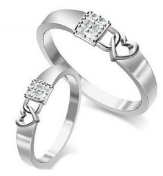 Sterling Silver Ring Couple Ring Sparkling Lock and Heart Engagement Ring 6pcs…