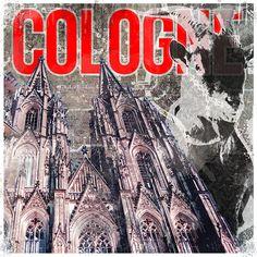 """Zwei der wichtigsten Elemente Kölns sind hier auf dieser Collage abgebildet. Ziegenbock Hennes als Symbol für den 1. FC Köln, sowie natürlich der Kölner Dom. """"Minge kölsche Geißbock, do bes okay. Dreimol Alaaf op der FC"""" heißt es huldigend in Frank Jakobs Lied """"D'r Hennes vum FC"""". Und dass es zum Kölner Dom mehr als 1700 Lieder und Sprüche in der Kölschen Liedersammlung gibt, wundert wohl keinen...dieses Bild könnt Ihr auch in bunt bestellen."""