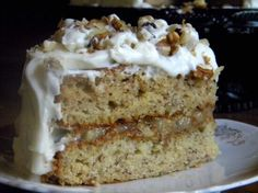 Banana walnut cake with cream cheese frosting is an old fashioned layer cake that stays moist for days - if it lasts that long. The filling is gooey caramel