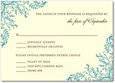 Fine Filigree - Signature Ecru Wedding Response Cards - Coloring Cricket - Emerald - Green : Front