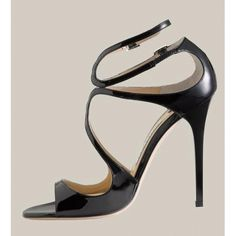 Jimmy Choo Lance Mirrored Leather Sandals Black