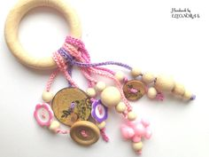 Wooden rattle, wooden ring  with tassel, ECO Teething toy with crochet wooden ring