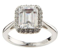 qvc Epiphany Sterling Silver Diamonique Framed Emerald Cut Ring 9 J005 #SolitairewithAccents