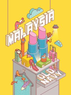 Old Navy Malaysia - Old Navy Malaysia Poster for Old Navy that represent our iconic country by using fashion. Flat Illustration, Graphic Design Illustration, Digital Illustration, Isometric Art, Isometric Design, Graphic Design Posters, Graphic Design Inspiration, Game Design, Design Art