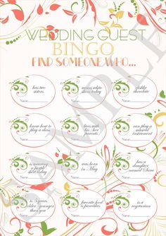 Printable Bingo Wedding Find Someone Who Icebreaker For Guests Reception In Green An C Color