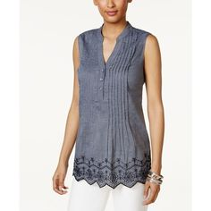 Style & Co Petite Cotton Embroidered Eyelet Chambray Top, ($50) ❤ liked on Polyvore featuring tops, medium wash, sleeveless tank tops, chambray tank, embroidered top, chambray tank top and eyelet tank top