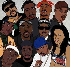 To all the fallen souljas in the Music Game! Cartoon Drawings, Cartoon Art, Hip Hop Logo, J Dilla, Gangster Rap, Man Illustration, Nba Season, Celebrity Caricatures, Black Cartoon