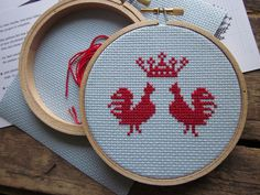 diy cross-stitch pattern/kit - king of the roost - to be framed in the 4 inch hoop. $12.00, via Etsy.