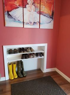 DIY Space Saving Shoe Storage Storage solutions for the shoes in your home. A great DIY idea for an entryway mudroom. DIY storage solution for extra shoes. This space saving shoe storage is brilliant. Entryway Shoe Storage, Closet Shoe Storage, Bedroom Storage, Storage Spaces, Diy Bedroom, Storage Baskets, Shoe Shelves, Shoe Racks, Shoe Rack With Storage