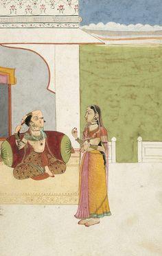 Woman combing her hair. Other titles:     Princess at her toilet. Place of origin     Bundi → Rajasthan → India. Period     Rajput circa 1500 - 1947 → India. Year     circa 1800