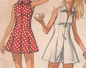 Vintage Sleeveless Tennis or Sport Dress and Shorts Simplicity Sewing Pattern 9406 Misses' Size 18 Bust 40