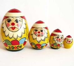 This nesting doll painted in Semionovo style describes gnomes with precision stones The doll is turned in shape of an egg Semionovo is a small town located near Nizniy Novgorod this region is known by old traditions of wood crafts Now these old tradition are still alive and carefully cherished These