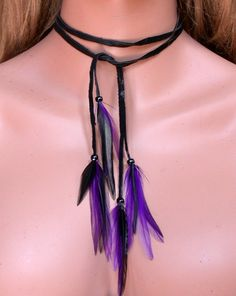 Purple and Black Feather Necklace and Headband
