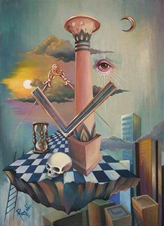 Awesome masonic painting, likely at a masonic lodge. Masonic Art, Masonic Lodge, Masonic Symbols, Psy Art, Occult Art, Surrealism Painting, Mystique, Freemasonry, Illuminati