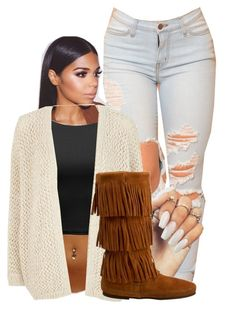 """""""BADDIE"""" by aaliyaharmstrong ❤ liked on Polyvore featuring River Island and Minnetonka"""