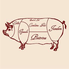 This is something I want a tattoo of...pork butcher chart.  I'd like the words in Spanish.