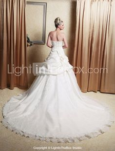 A-line Strapless Chapel Train Satin Tulle Pick-up Wedding Dress - US $244.99